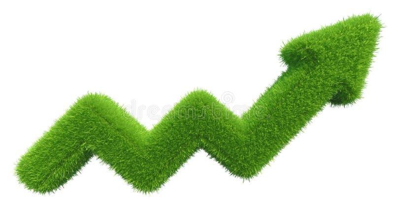 Carta de la flecha de la hierba verde aislada en el fondo blanco foto de archivo libre de regalías