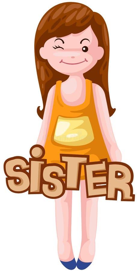 Carta de la hermana stock de ilustración