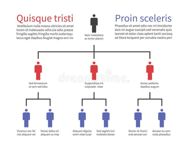 Carta de la jerarquía de la pirámide, estructura de organización de la empresa con los iconos de la gente Vector del árbol del or stock de ilustración