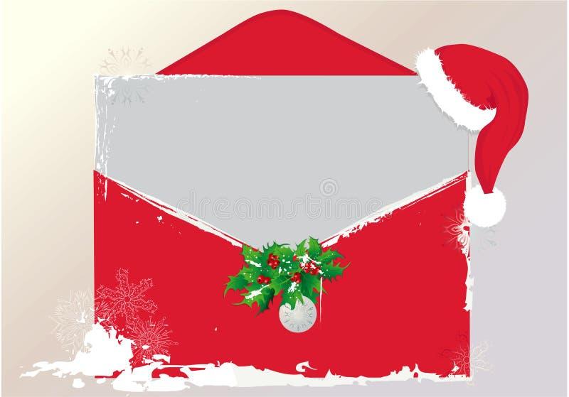 Carta de la Navidad con el sombrero de Santa ilustración del vector