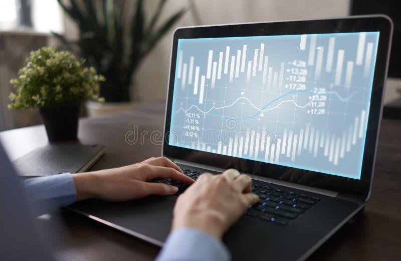 Carta de la palmatoria Mercado de acción y gráfico comercial de las divisas ROI de la rentabilidad de la inversión Fondo financie foto de archivo libre de regalías