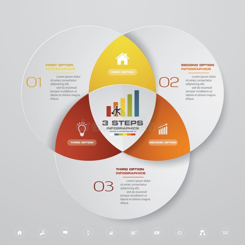 carta de la plantilla del elemento del infographics de 3 pasos stock de ilustración