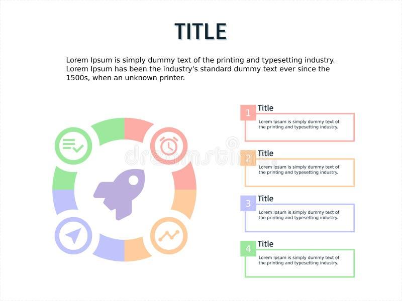 Carta de la plantilla de Infographic con el paso cuatro libre illustration