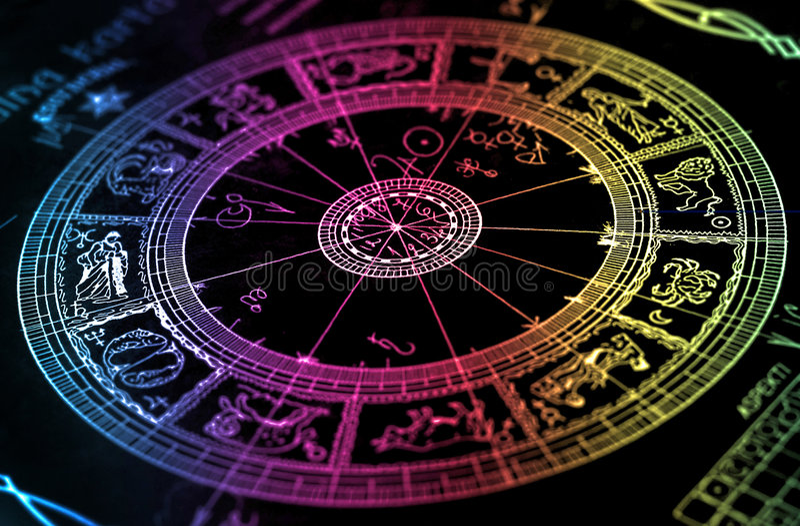 Carta de la rueda del horóscopo del arco iris fotos de archivo