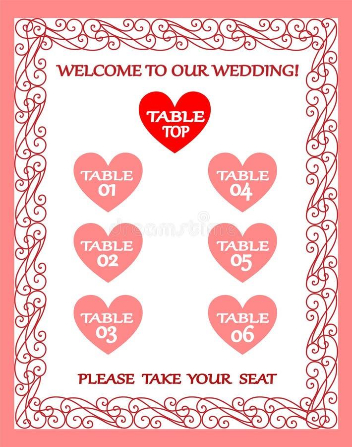 Carta de la tabla de la boda, plan del asiento, marco del vintage ilustración del vector