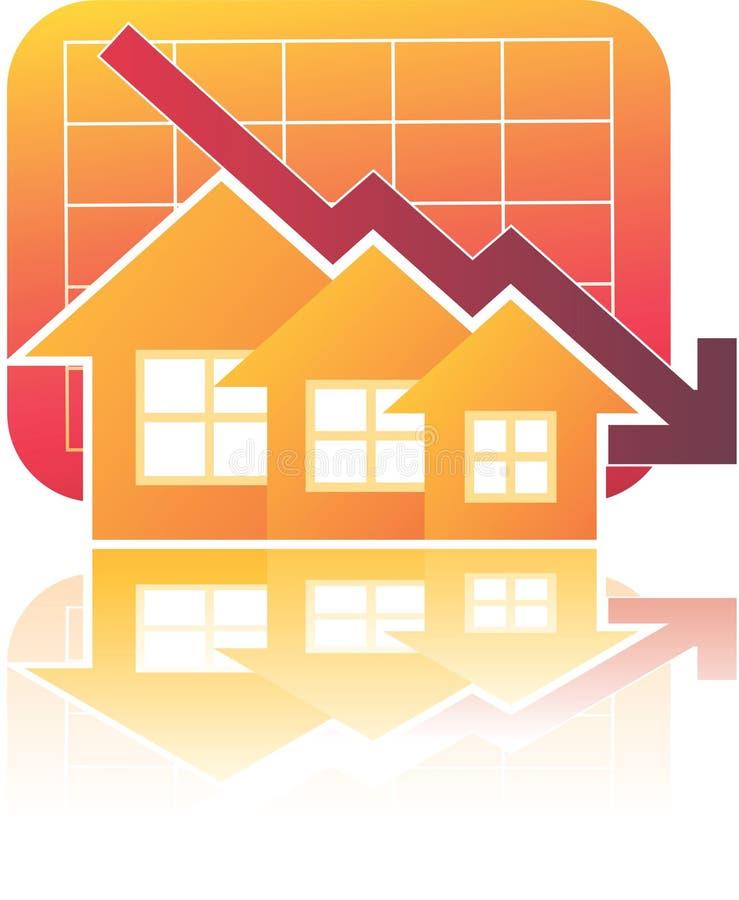 Carta de las propiedades inmobiliarias abajo stock de ilustración