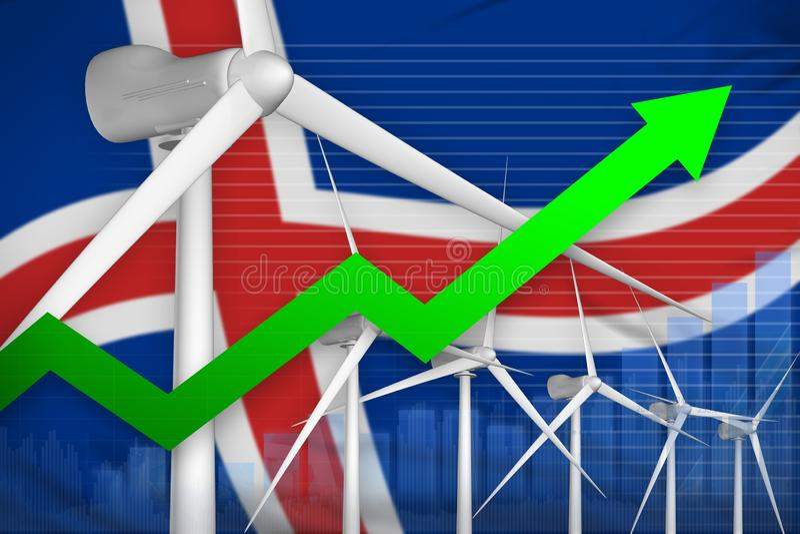 Carta de levantamiento del poder de la energía eólica de Islandia, flecha encima - del ejemplo industrial moderno de la energía n stock de ilustración