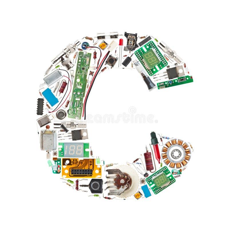 Carta de los componentes electrónicos stock de ilustración