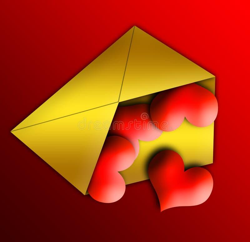 Carta de los corazones ilustración del vector