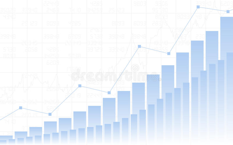 Carta de negócio abstrata com ascendente gráfico linear tendência, carta de barra e números de existência no fundo branco da cor ilustração royalty free
