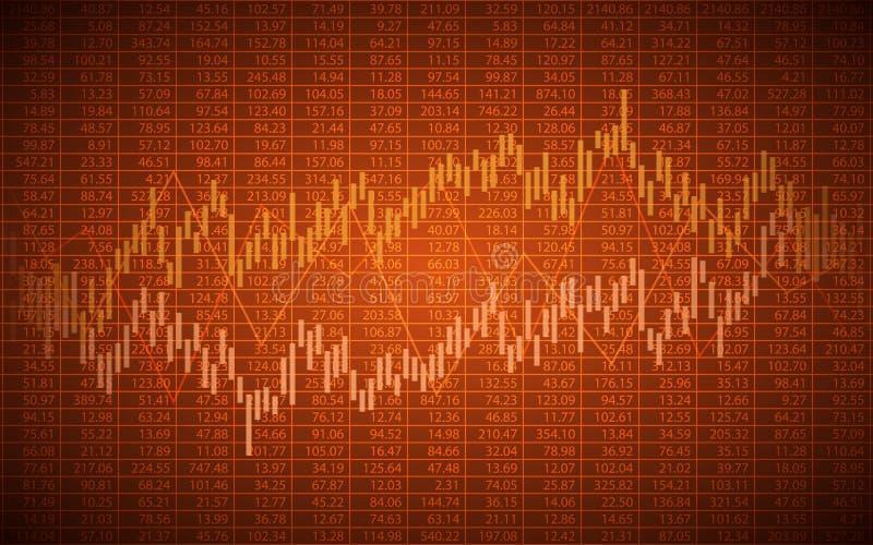 Carta de negócio abstrata com gráfico linear e números de existência tendência no fundo alaranjado da cor ilustração stock