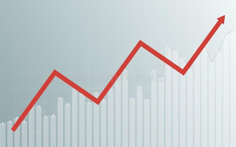 Carta de negócio abstrata com gráfico linear uptrend, carta de barra e setas no mercado de valores de ação no fundo cinzento da c ilustração royalty free