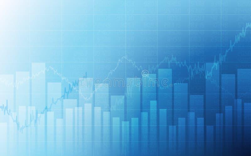 Carta de negócio com gráfico linear uptrend, carta de barra e números de existência no mercado em alta no fundo branco e azul da  ilustração royalty free