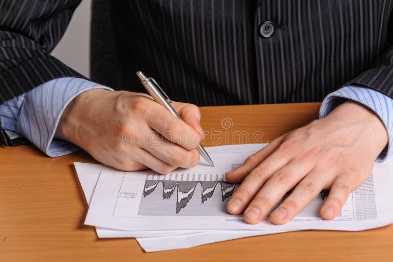 Carta de negócio de Analizing imagens de stock royalty free