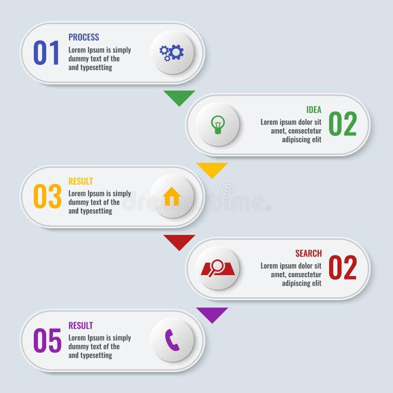 Carta de negocio de proceso con cinco pasos en forma larga stock de ilustración