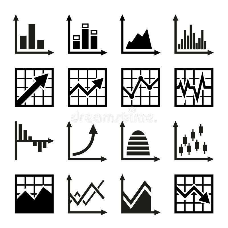 Carta de negocio e iconos de los gráficos fijados libre illustration