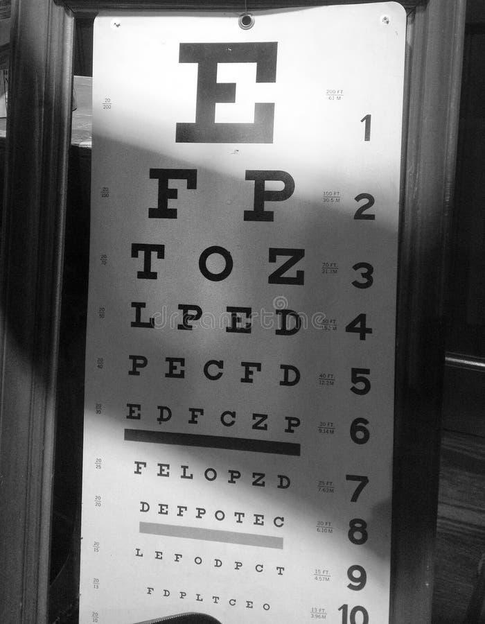Carta de ojo en negro y blanco fotos de archivo libres de regalías