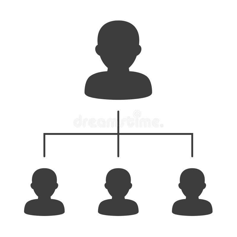 Carta de organización corporativa con los hombres de negocios de los iconos ilustración del vector