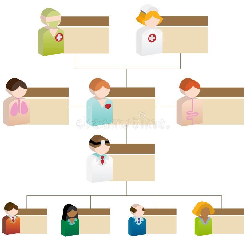 Carta de organización de la diversidad - cuidado médico 3D ilustración del vector