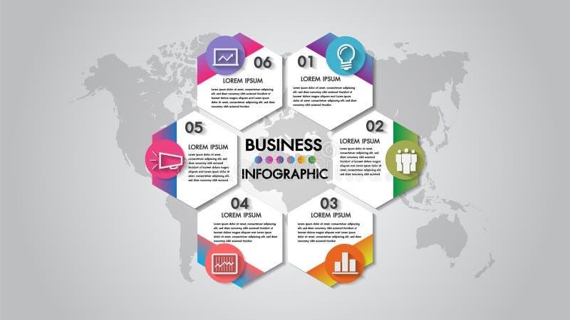Carta de organización del ejemplo del vector del negocio de los pasos de Infographics 6 con el icono Plantilla para el folleto, n ilustración del vector