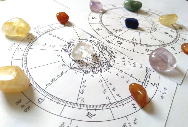 Carta de piedra natural de Crystal Natal del cuarzo de la carta de la astrología fotografía de archivo libre de regalías