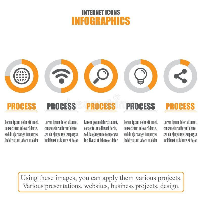 Carta de processo Dados comerciais Jogo de ícones do Internet Ilustração do vetor ilustração stock