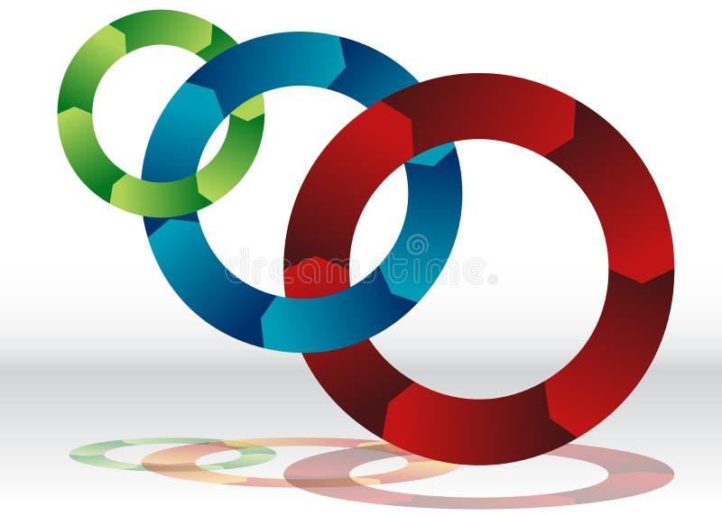 Carta de reciclagem de sobreposição da roda três ilustração royalty free