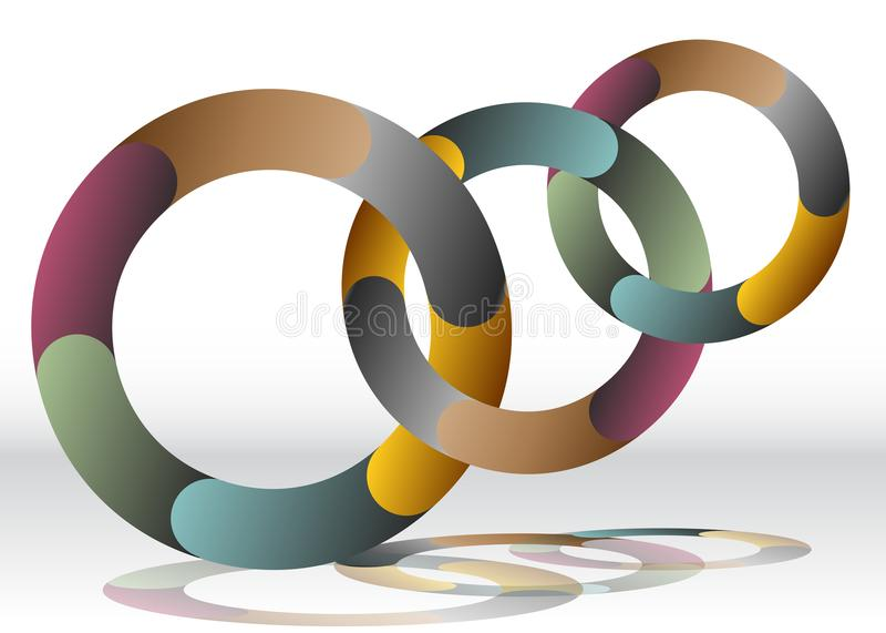 Carta de reciclagem de sobreposição da roda três ilustração do vetor