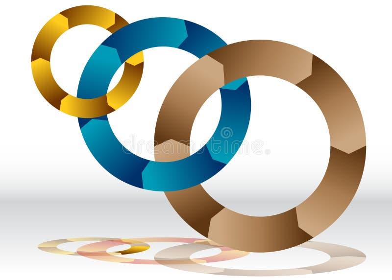 Carta de reciclagem de sobreposição da roda três ilustração stock