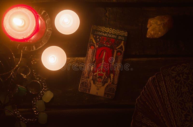 Carta de tarot Lectura futura divination foto de archivo libre de regalías