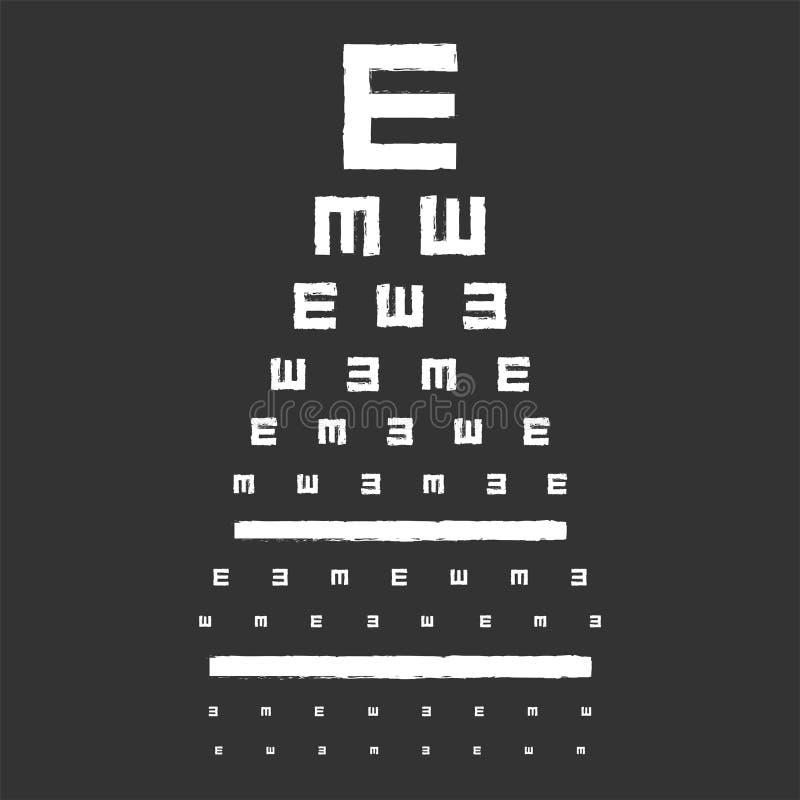 Carta de teste da vista do olho ilustração stock