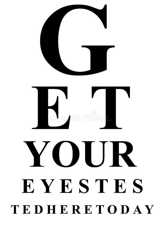 Carta de teste do olho ilustração stock