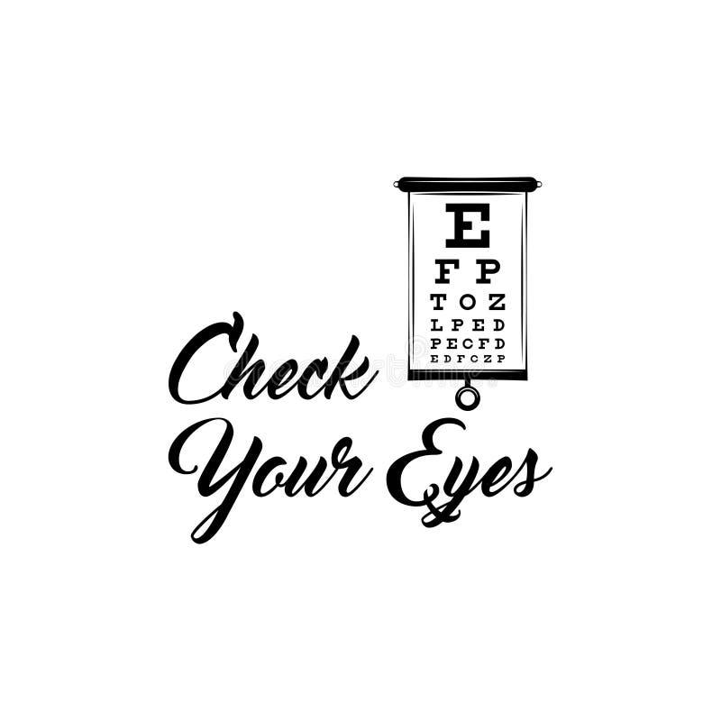 Carta de teste do olho Exame da visão Optometrista Check Diagnóstico médico do olho Ilustração do vetor ilustração stock