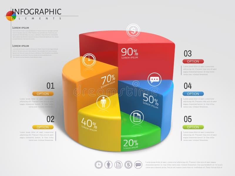 carta de torta 3D infographic ilustração royalty free