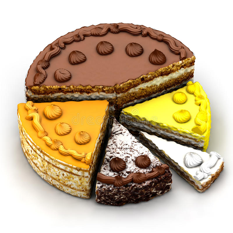 Carta de torta da parte de torta diferente ilustração do vetor