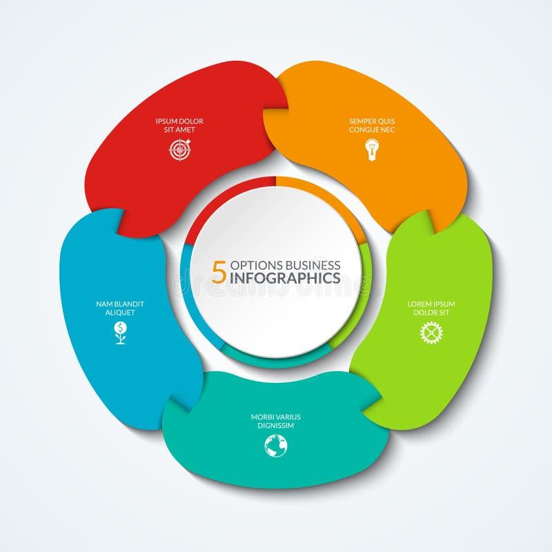 Carta de torta de Infographic O conceito do negócio de 5 conectou as peças, segmentos ilustração do vetor
