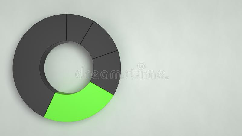 Carta de torta preta do anel com um setor verde ilustração stock