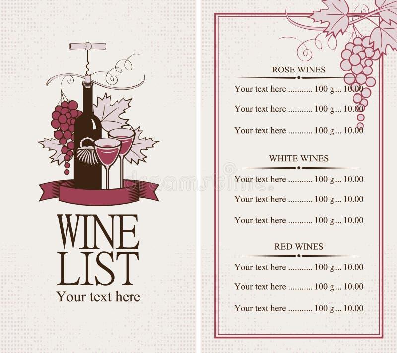 Carta de vinhos ilustração stock