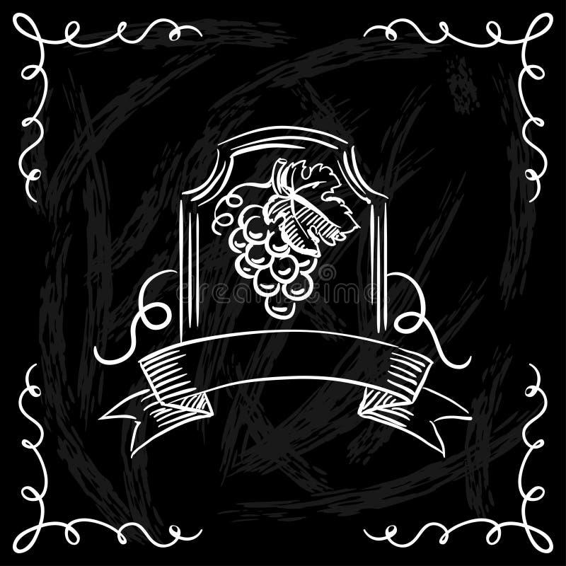 Carta de vinhos do restaurante ou da barra no quadro ilustração do vetor