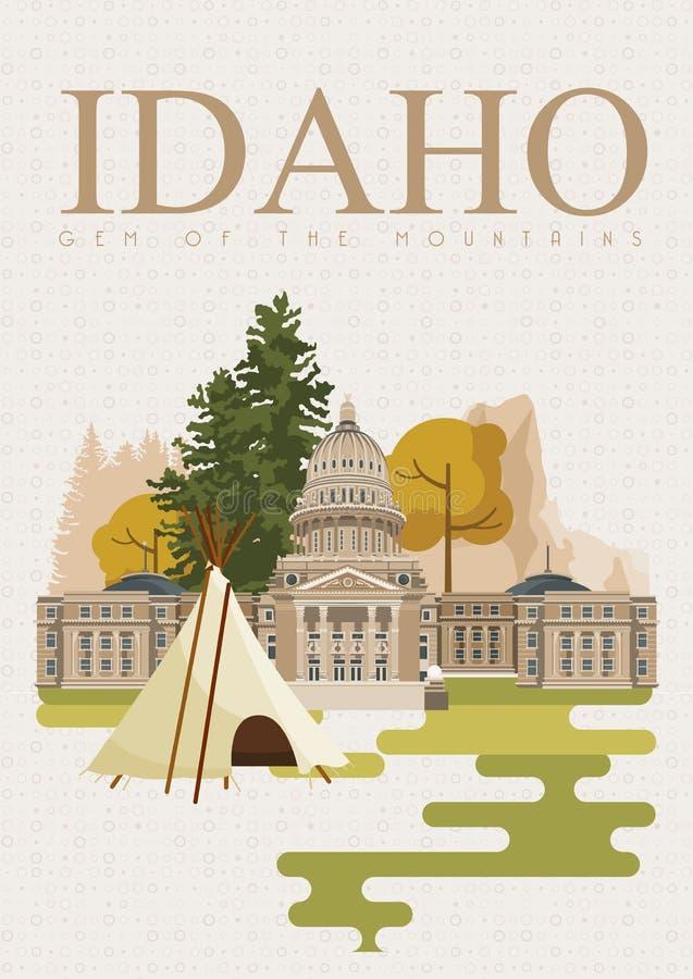 Carta degli Stati Uniti d'America con i simboli di Boise e dell'Idaho royalty illustrazione gratis