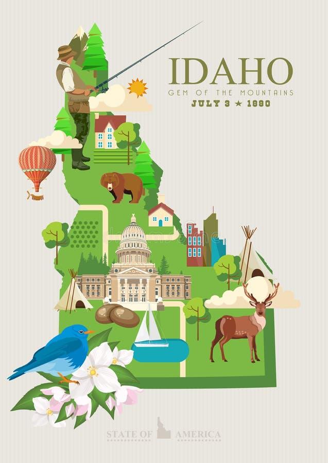 Carta degli Stati Uniti d'America con la mappa dell'Idaho royalty illustrazione gratis