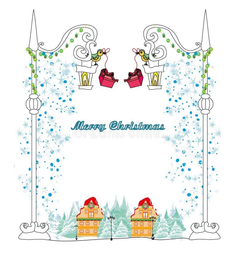 Carta degli uccelli di inverno di Natale royalty illustrazione gratis
