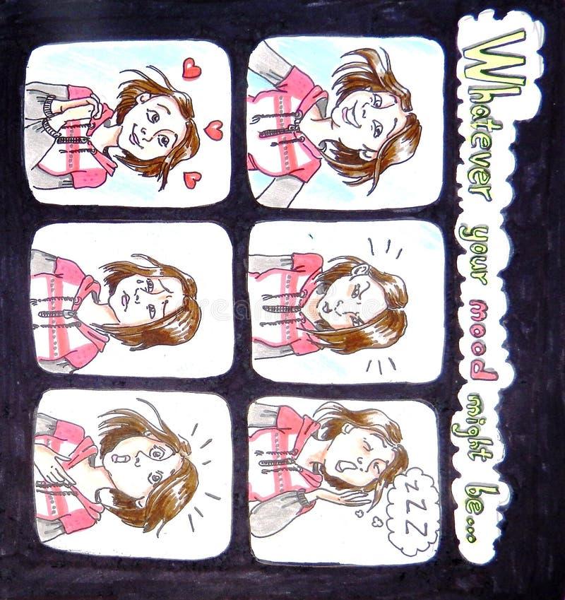 Carta dei biglietti di S. Valentino - qualunque il vostro umore potrebbe essere illustrazione vettoriale