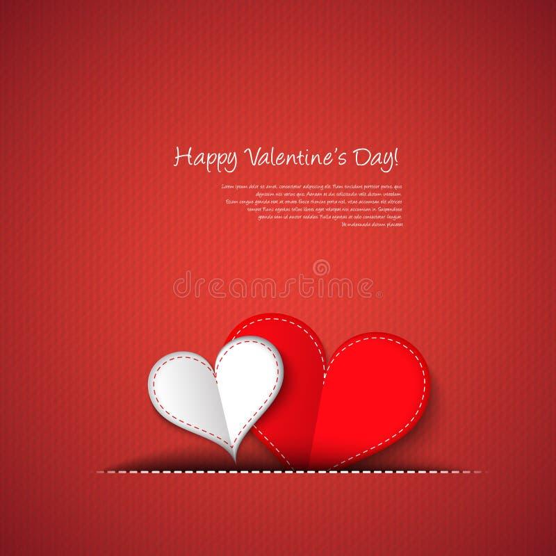 Carta dei cuori di giorno di biglietti di S. Valentino illustrazione vettoriale