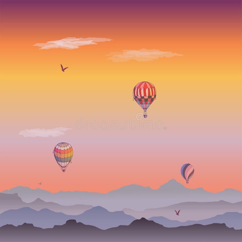 Carta dei palloni Alcuni aerostati a strisce diversamente colorati che volano nel cielo uguagliante appannato Modelli delle nuvol illustrazione di stock