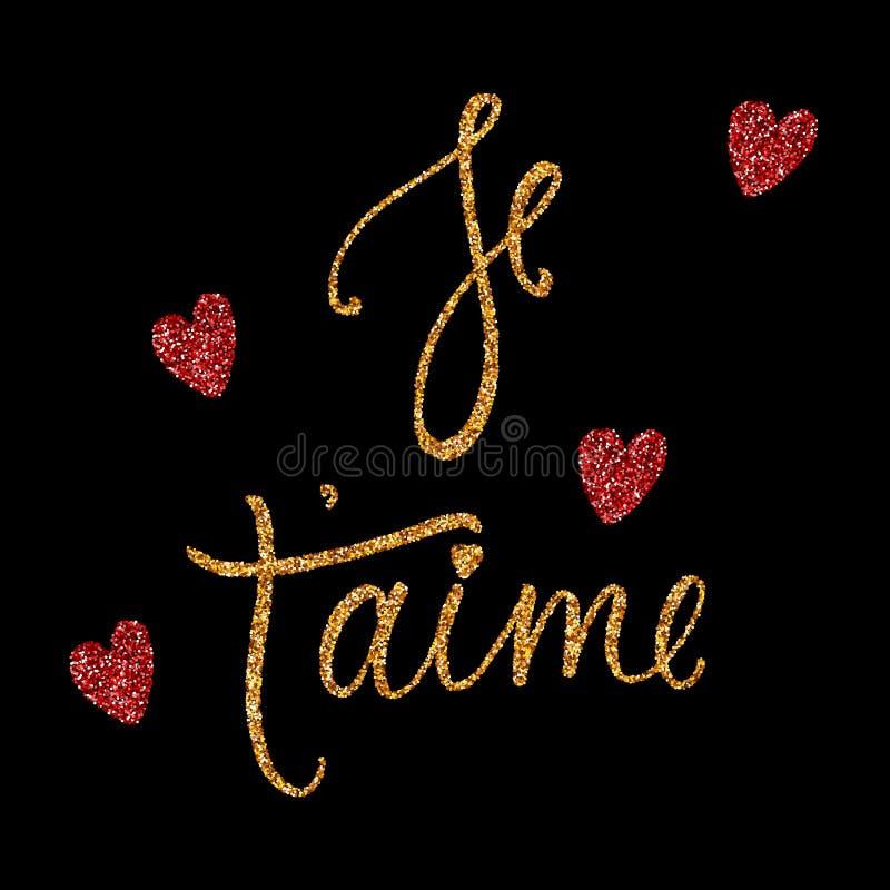 Carta del aime del ` di Je t con effetto dorato e rosso di scintillio Ti amo in francese Calligrafia moderna della spazzola Frase fotografia stock libera da diritti