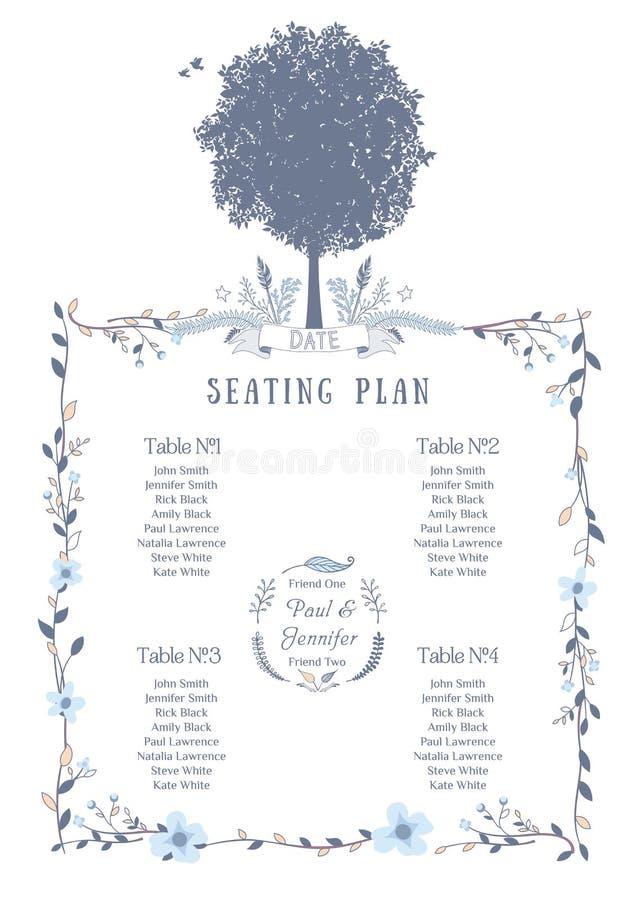 Carta del asiento de la boda ilustración del vector