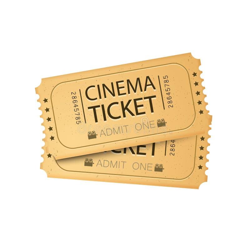 Carta del biglietto del cinema Illustrazione di vettore Modello del biglietto del cinema immagine stock