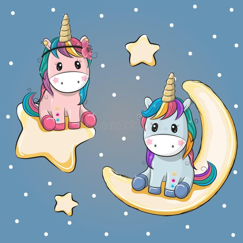 Carta del biglietto di S. Valentino con due unicorni su una luna e su una stella illustrazione vettoriale