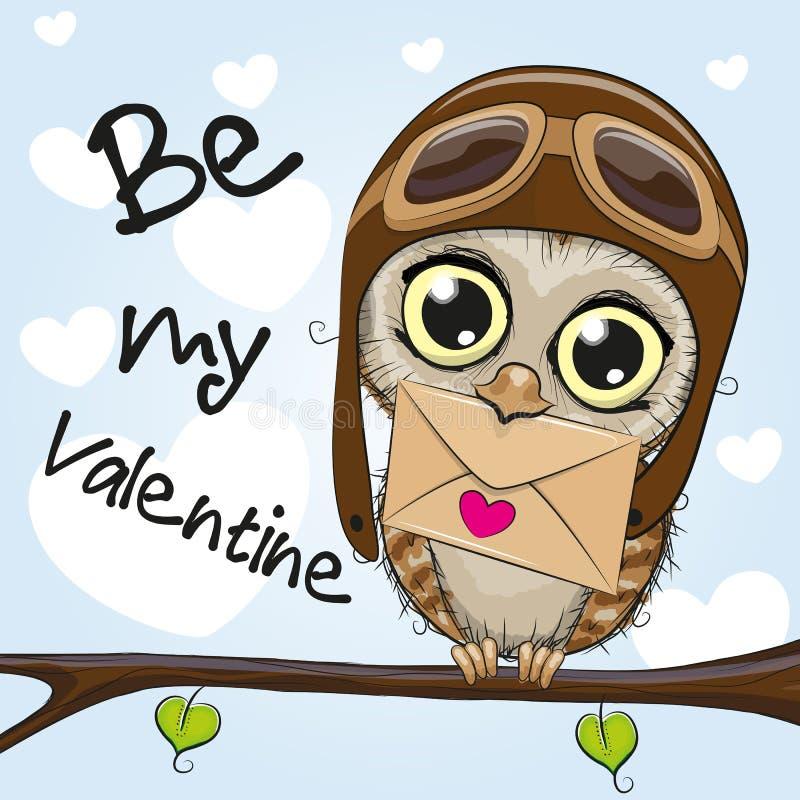 Carta del biglietto di S. Valentino con il gufo sveglio del fumetto illustrazione vettoriale